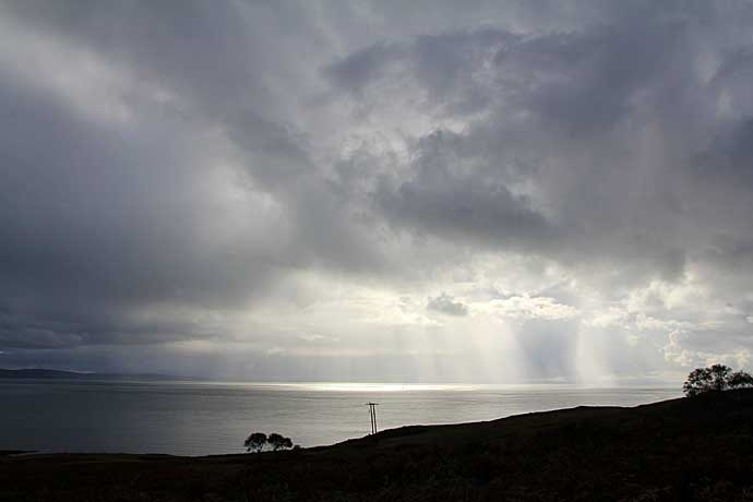 Rain Shower arrives from the west over the Sound of Jura